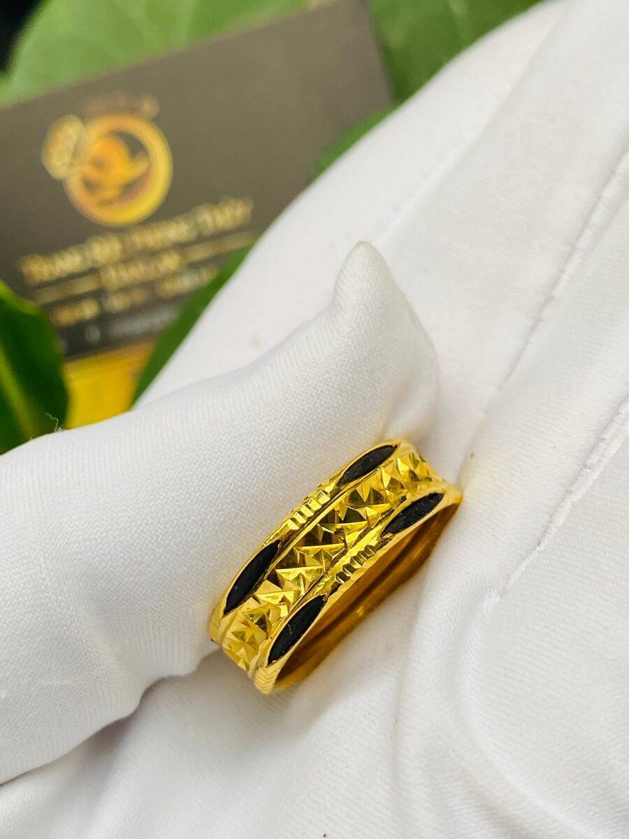 Nhẫn vàng nam nữ 2 đường Lông (lông FAKE) giá trị