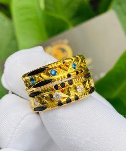 Cặp nhẫn đính đá Cz xanh dương - trắng giá tốt