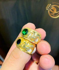 Nhẫn Bạch Ngọc tuổi Dậu có hoa văn