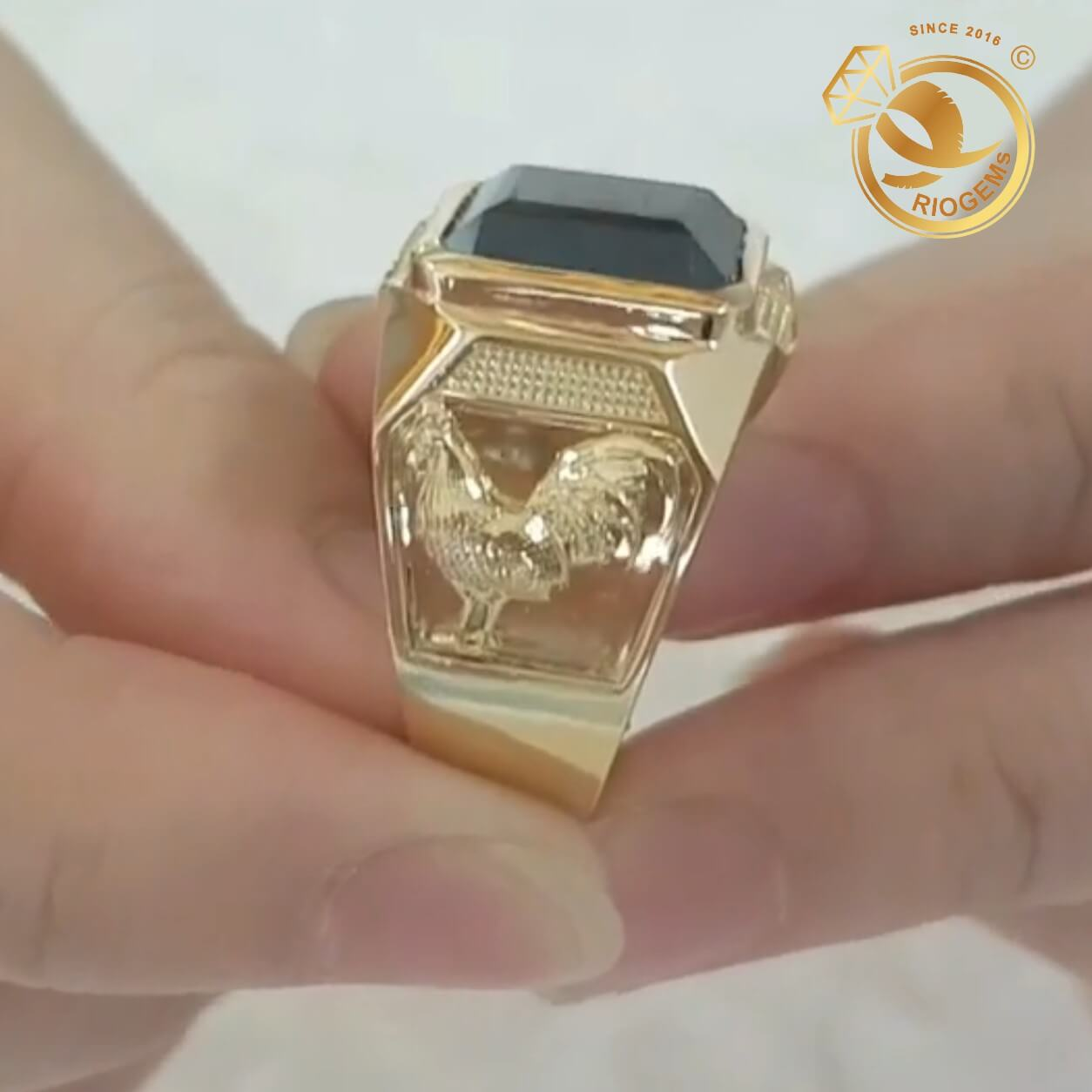 Nhẫn nam hình GÀ trống vàng đúc