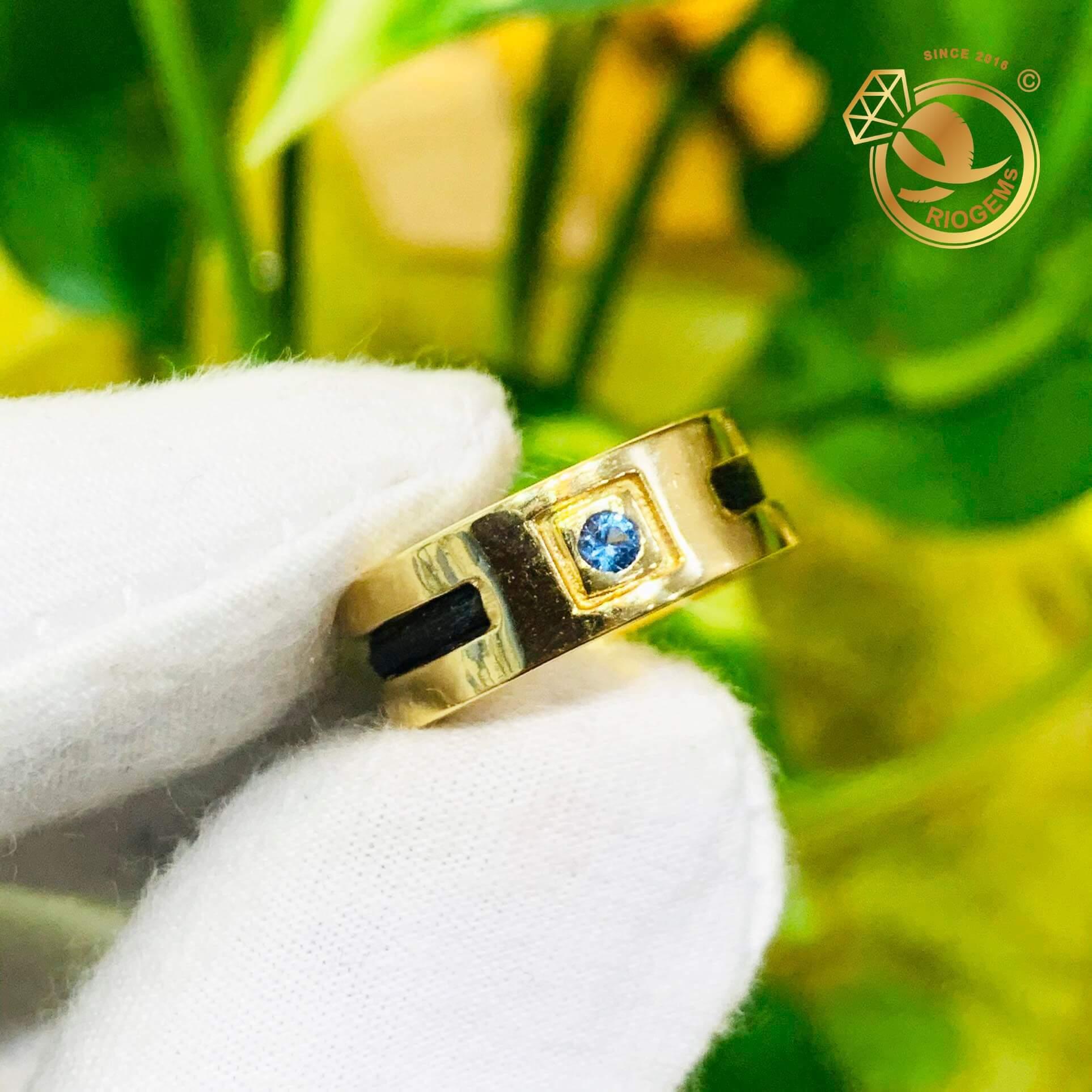 Mặt nhẫn đính đá Cz tròn màu xanh lơ sang trọng