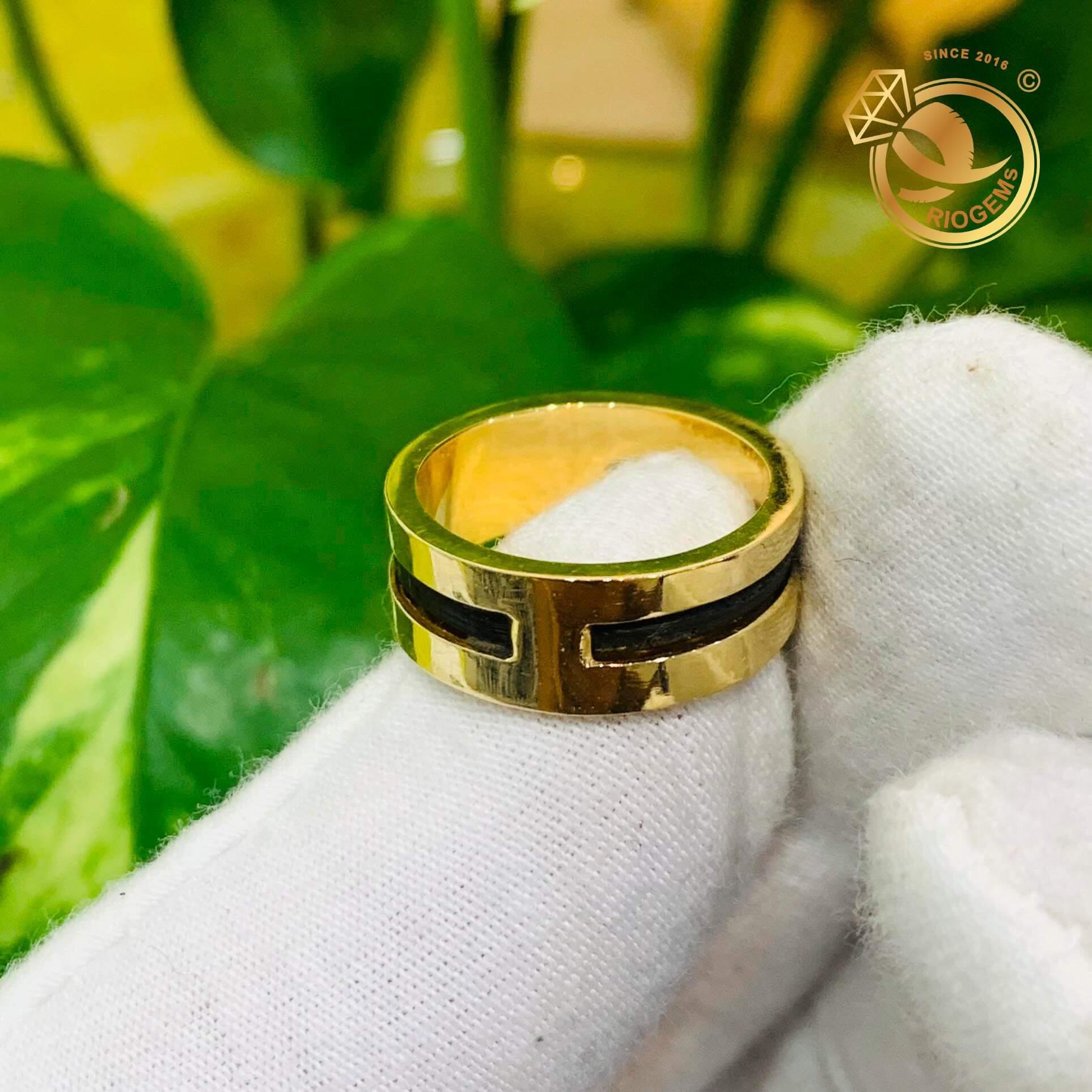 Nhẫn nam vàng chậu vuông luồng 1 sợi lông voi DakLak