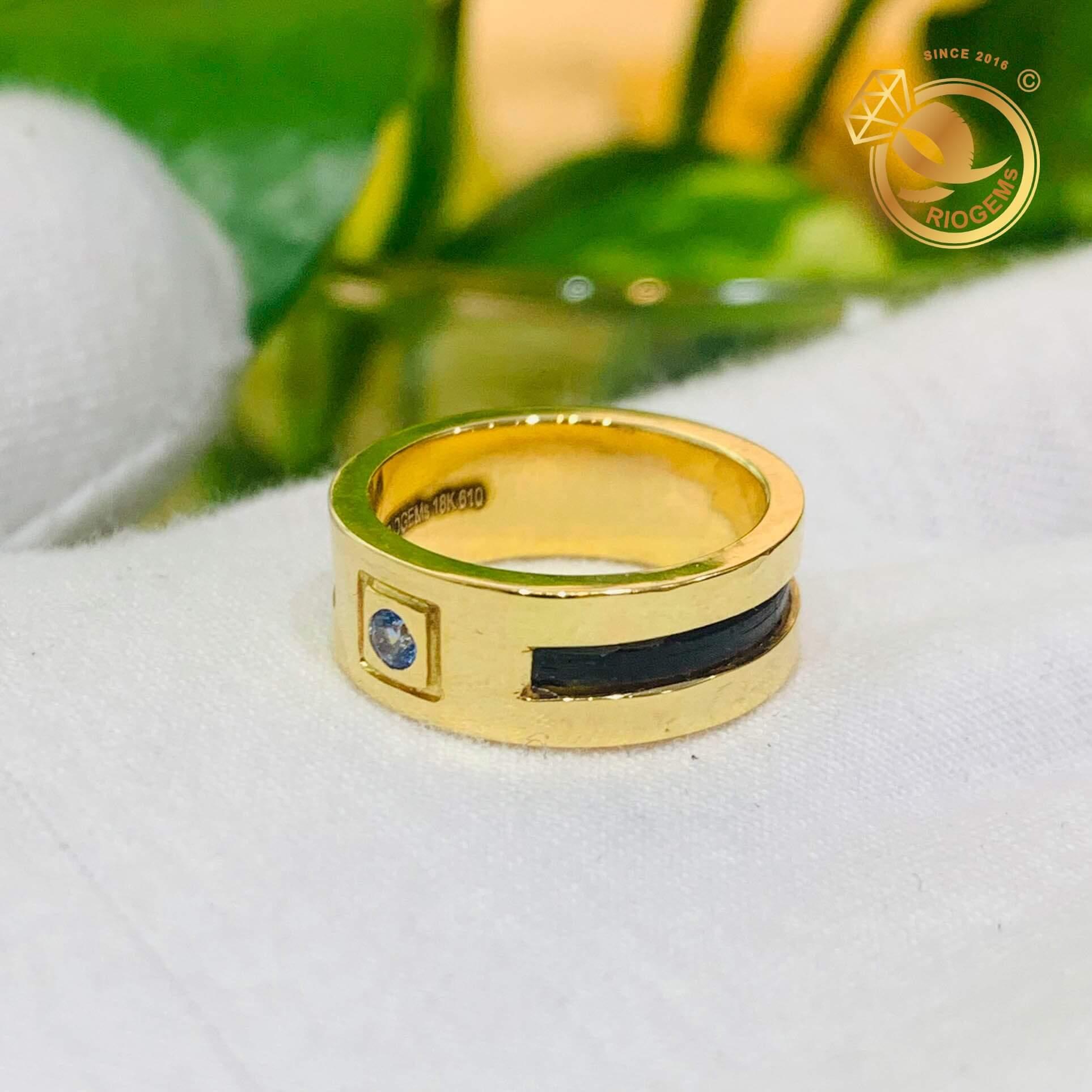 Nhẫn nam chậu vuông đính đá Cz xanh lơ - Món trang sức phong thủy cao cấp dành cho mọi quý ông