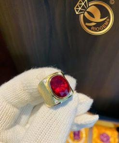 Nhẫn nam vàng đính đá Garnet lớn mạnh mẽ