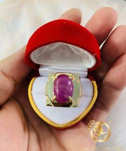 Nhẫn Nam Vàng đính đá ô van Ruby Yên Bái sang trọng