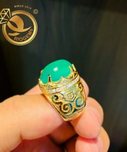 Nhẫn nam vàng đính ngọc đế quang phong thủy