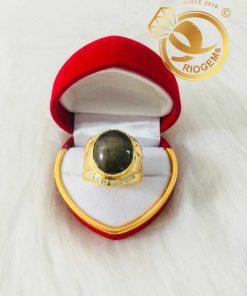 Nhẫn nam vàng 18K đính Sapphire tròn 12mm giá cả cạnh tranh