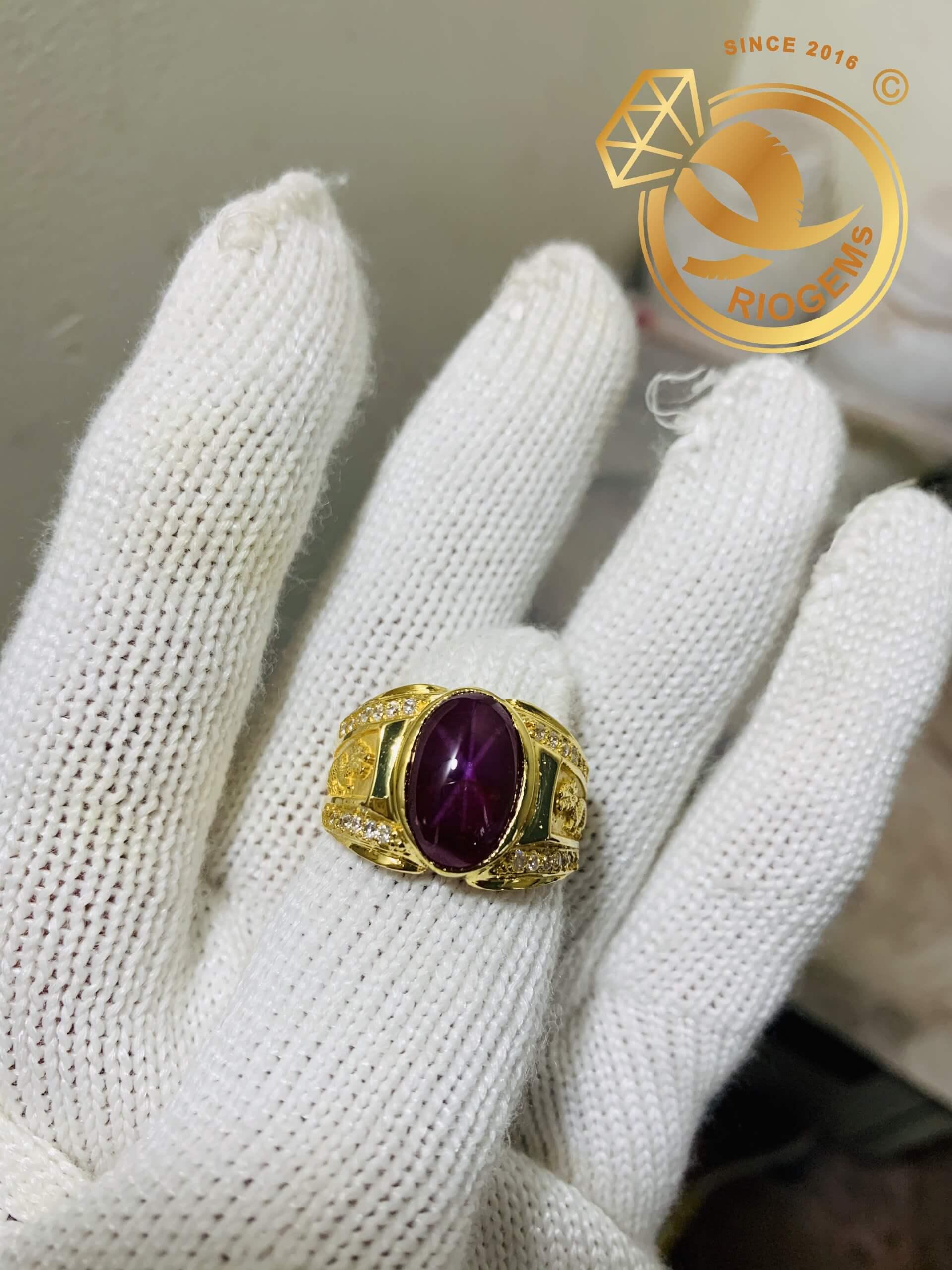 Nhẫn nam vàng hình Rồng đính Ruby Sao sang trọng
