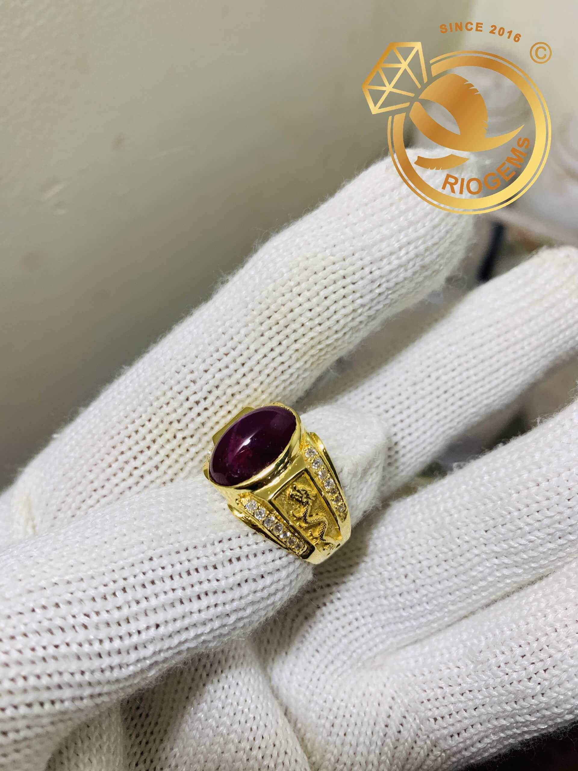 Nhẫn nam vàng hình Rồng đính Ruby Sao