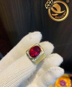 Nhẫn nam vàng đính đá Garnet lớn đẹp mắt