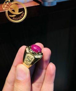Nhẫn nam vàng hình Rồng đính đá