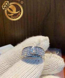 Nhẫn nam vàng trắng Full Cz trắng đẹp và sang trọng