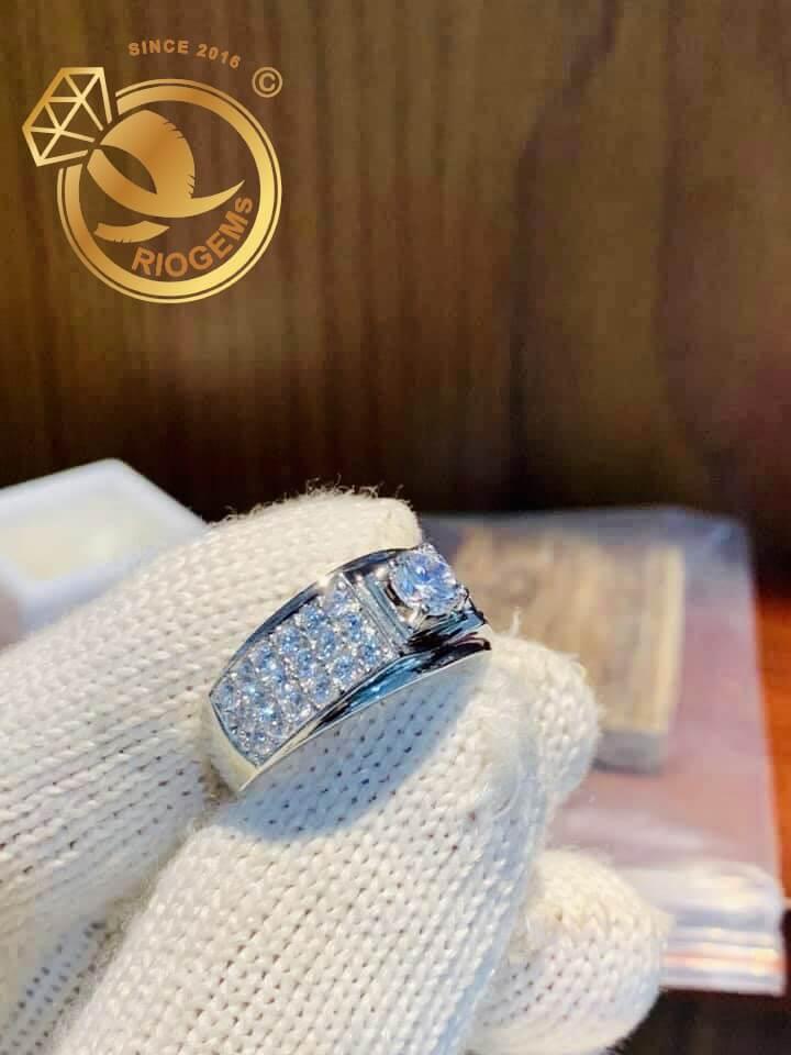 Nhẫn nam vàng trắng đính đá Cz trắng đẹp