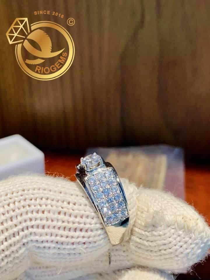 Nhẫn nam vàng trắng đính đá Cz
