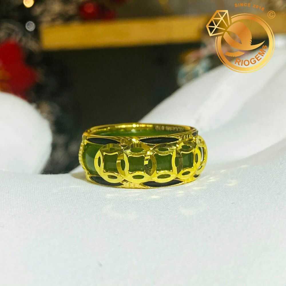 Nhẫn Ngọc Bích nam nữ 5 đồng tiền vàng luồng 2 lông phong thủy (lông FAKE) dành cho mọi cung mệnh