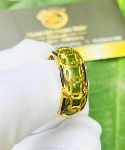Nhẫn Ngọc Bích nam nữ 5 đồng tiền vàng luồng 2 lông phong thủy (lông FAKE) đeo ngón cái, ngón giữa