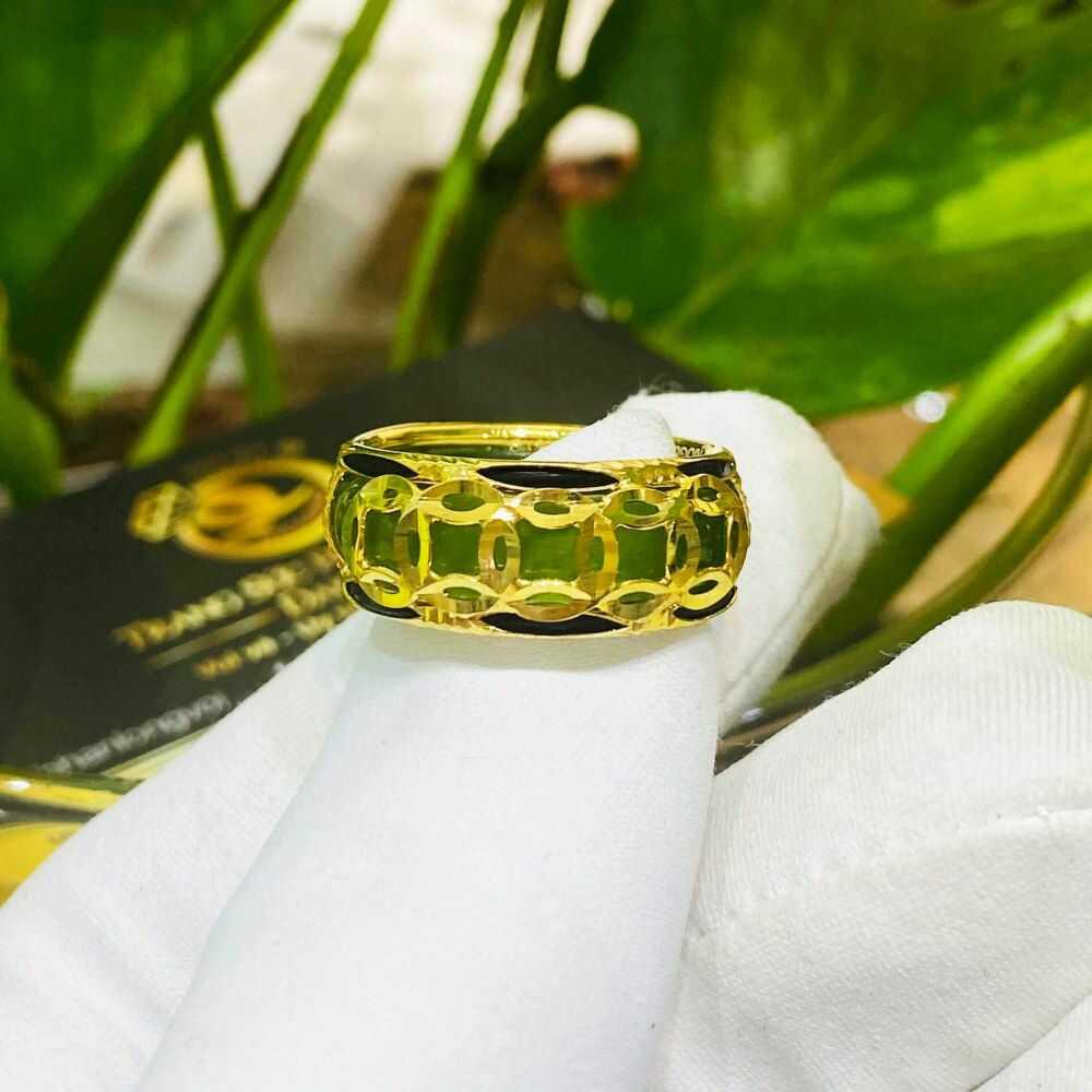 Nhẫn Ngọc Bích nam nữ 5 đồng tiền vàng luồng 2 lông phong thủy (lông FAKE) nổi bật, thời thượng