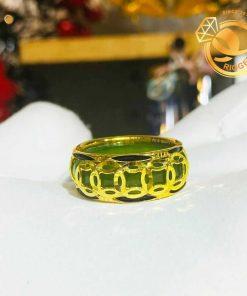 Nhẫn Ngọc Bích nam nữ 5 đồng tiền vàng luồng 2 lông phong thủy (lông FAKE) hoa văn đồng tiền vàng tinh xảo