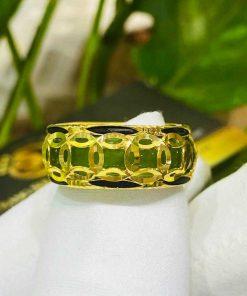 Nhẫn Ngọc Bích nam nữ 5 đồng tiền vàng luồng 2 lông phong thủy (lông FAKE) RIOGEMs bắt mắt