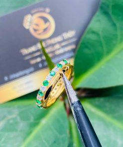 Nhẫn phong thủy nữ đính đá Cz xanh lá chắc chắn