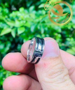 Nhẫn nữ vàng trắng luồng 2 Lông - Bảng 6li (lông FAKE) tinh tế