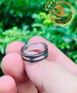 Nhẫn nữ vàng trắng luồng 2 Lông - Bảng 6li (lông FAKE) độc đáo