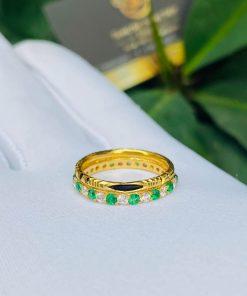 Nhẫn phong thủy nữ đính đá Cz xanh lá chắc chắn và đẹp mắt