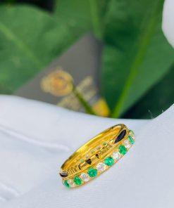 Nhẫn phong thủy nữ đính đá Cz xanh lá chắc chắn và đẹp mắt mang lại may mắn