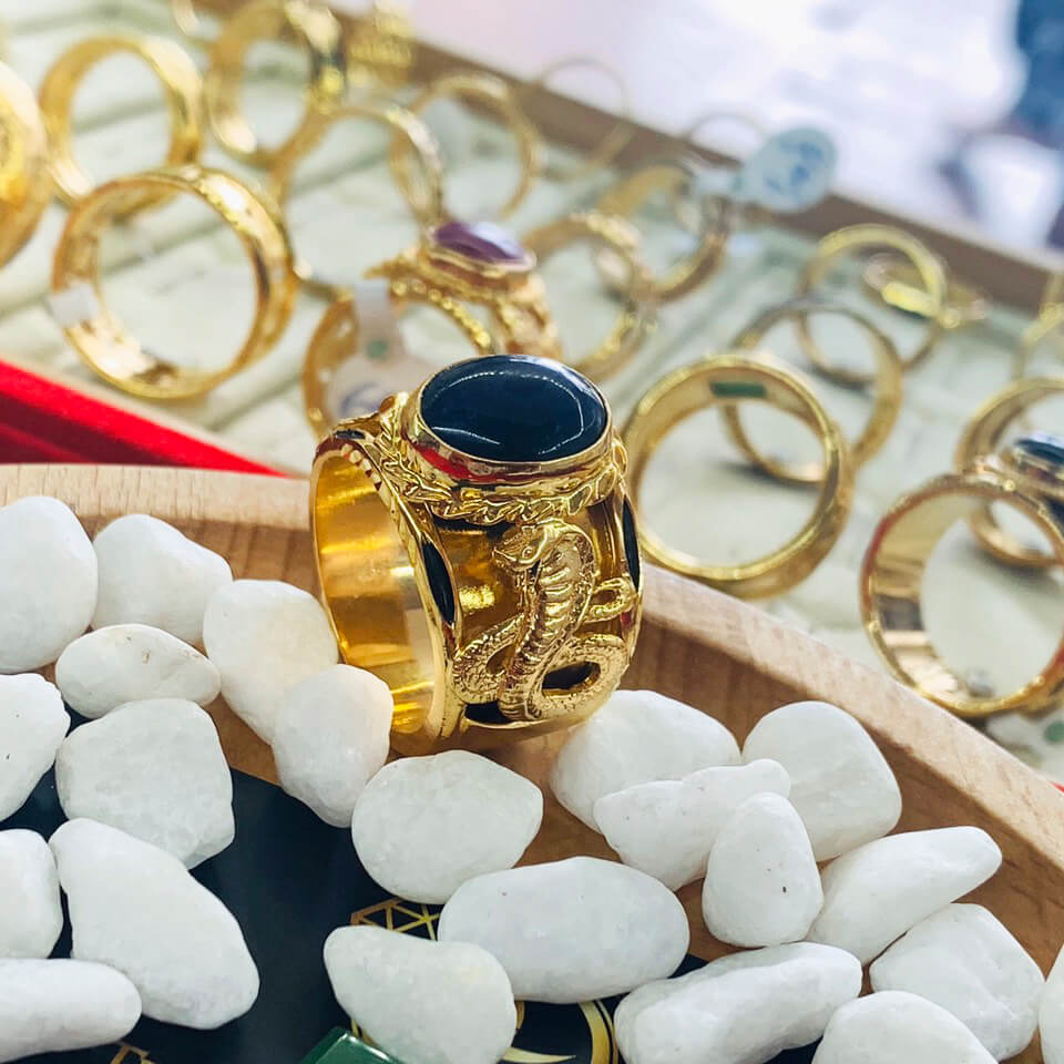 Nhẫn phong thủy 2 Rắn vàng chầu ngọc