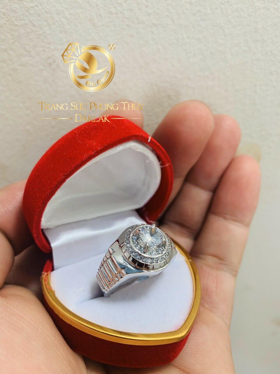 Nhẫn Rolex Vàng trắng - nhẫn nam vàng sang trọng