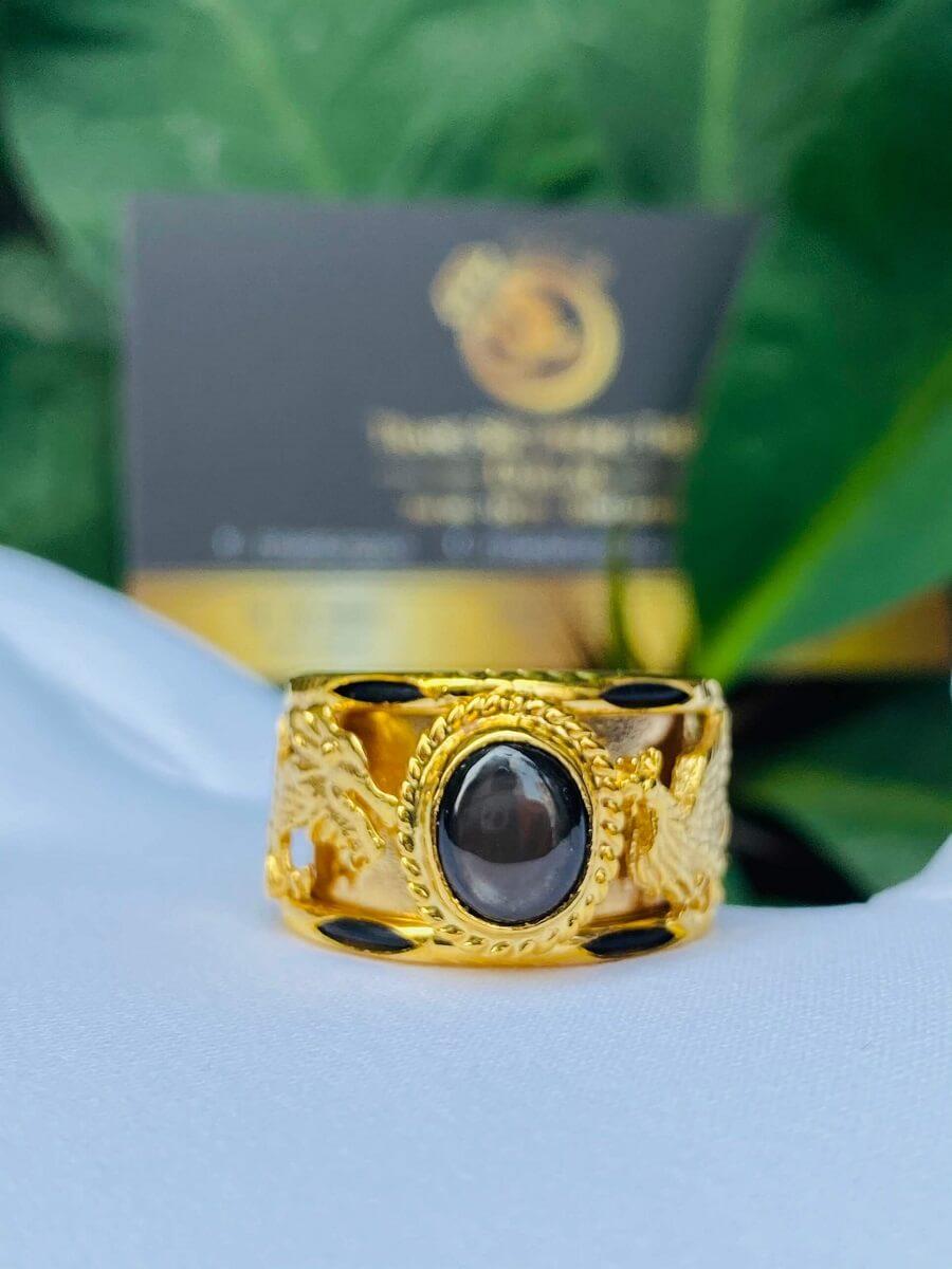 Nhẫn Rồng Phụng VÀNG 18K tranh ngọc Sapphire đen sao kép riogems thiết kế