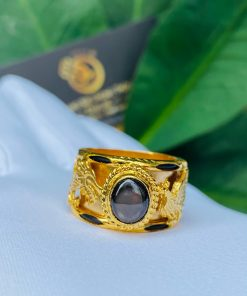 Nhẫn Rồng Phụng tranh ngọc Sapphire đen huyền bí