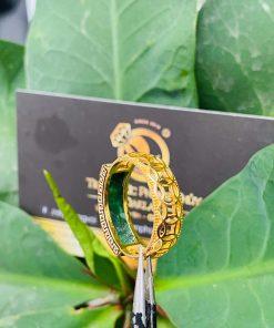 Nhẫn yên ngựa nam hoa văn vàng ngọc cẩm thạch Jadeite