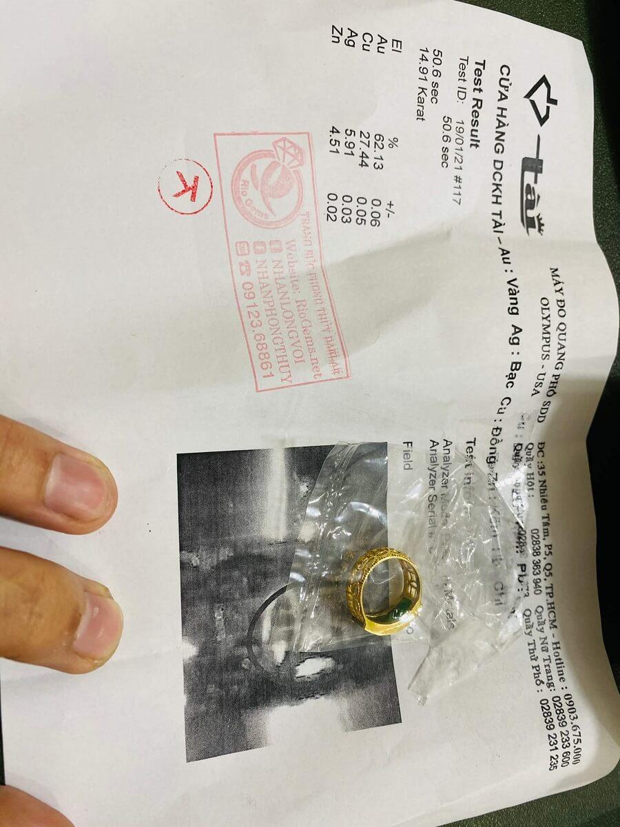 Nhẫn yên ngựa nam vàng 18K đính ngọc Cẩm Thạch Jadeite chứng nhận