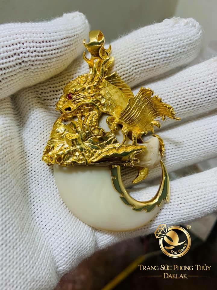 Bộ dây chuyền vàng mắt xích - móng cọp phong thủy lên cá hóa rồng