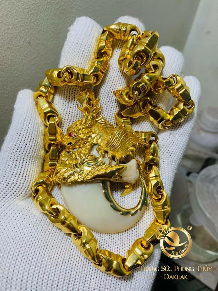 Bộ dây chuyền vàng mắt xích - móng cọp