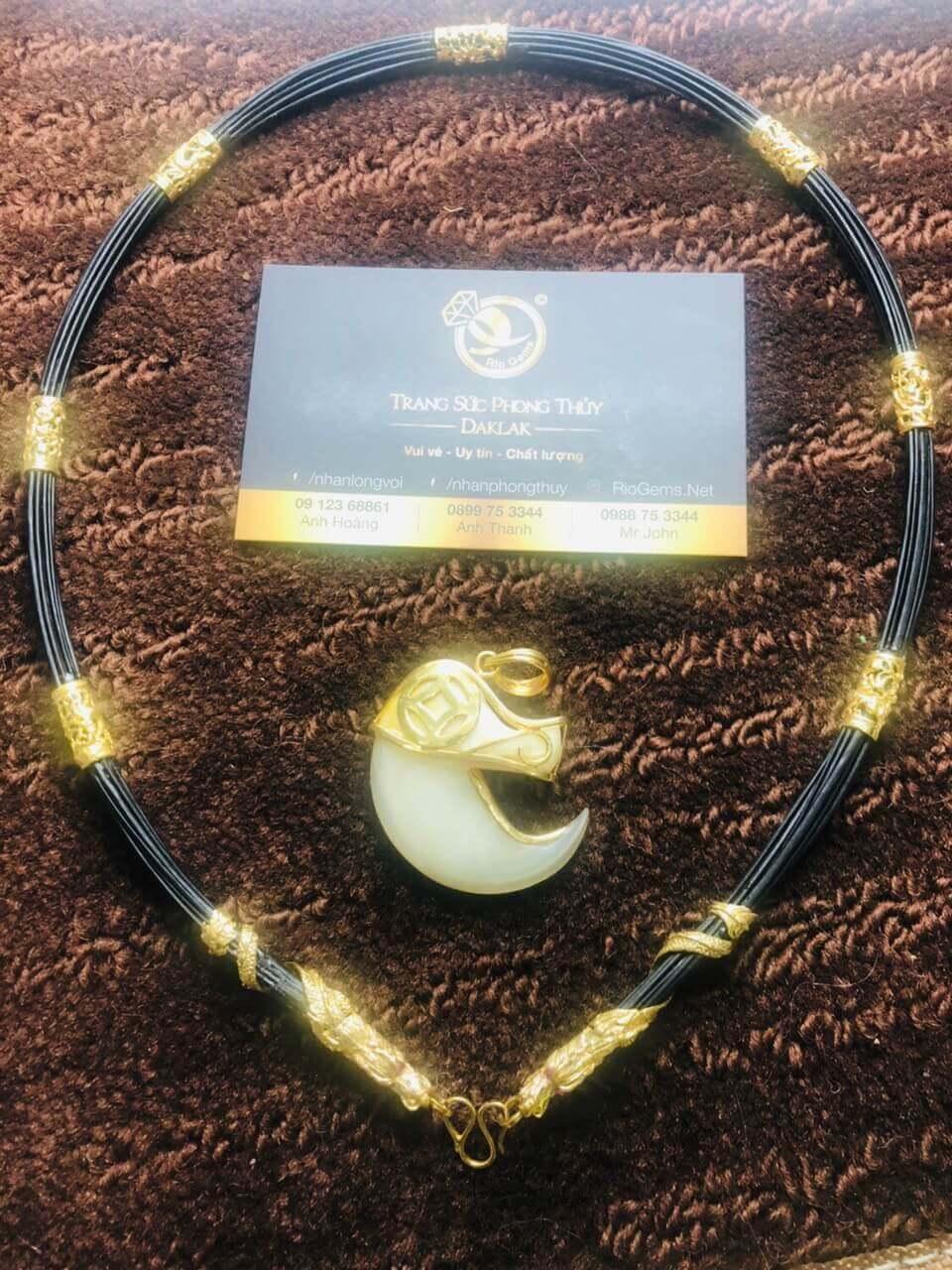 Bộ vòng cổ lông bọc 7 đốt Rồng đúc + 2 đầu Rồng cuộn vàng 18K giá trị cao