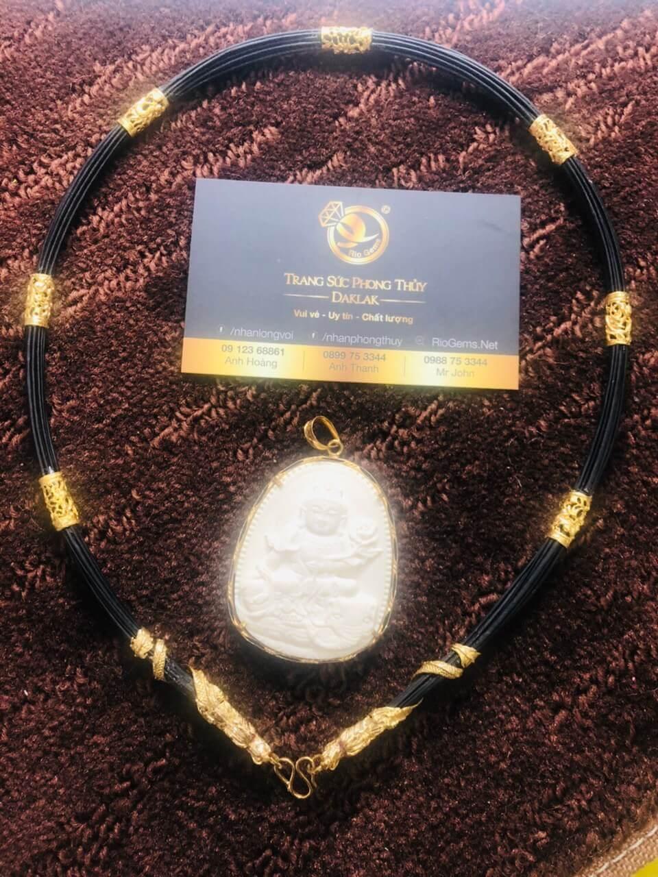 Bộ vòng cổ lông bọc 7 đốt Rồng đúc + 2 đầu Rồng cuộn vàng 18K chất lượng