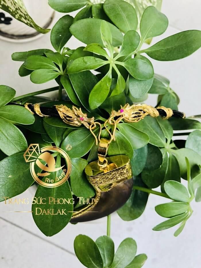 Bộ vòng cổ Lông 7 đốt Rồng dập + 2 đầu Rồng cuộn vàng 10K (Lông FAKE) đẹp mắt