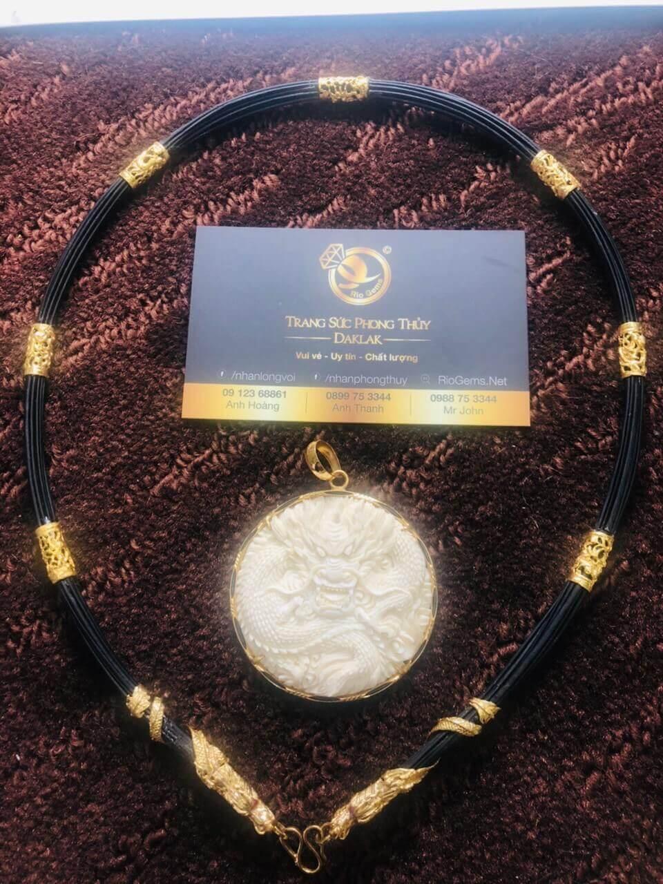 Bộ vòng cổ lông bọc 7 đốt Rồng đúc + 2 đầu Rồng cuộn vàng 18K đẹp