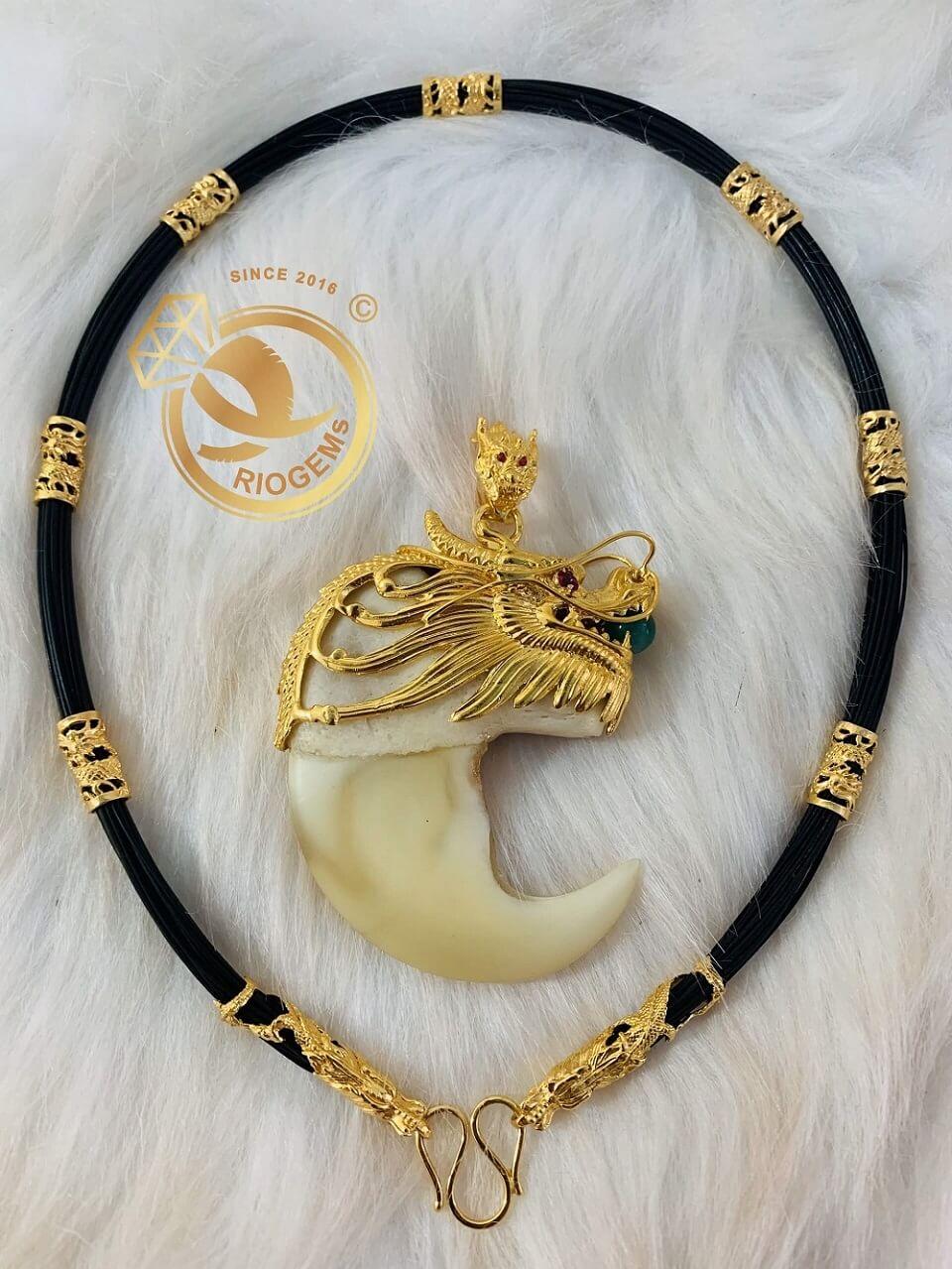 Bộ vòng cổ lông bọc 7 đốt Rồng đúc + 2 đầu Rồng cuộn vàng 18K may mắn