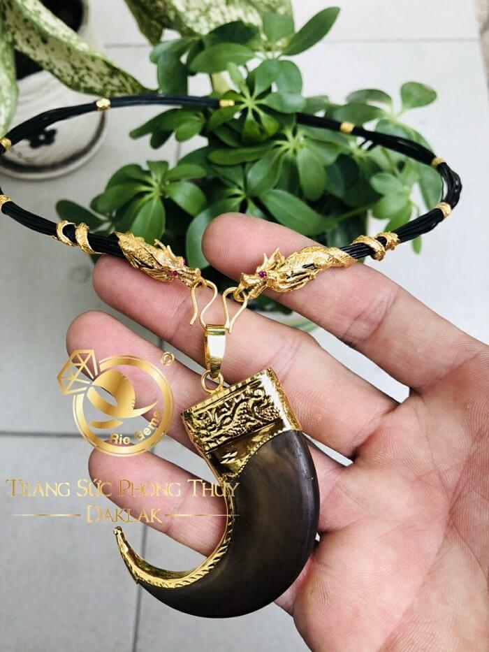 Bộ vòng cổ Lông 7 đốt Rồng dập + 2 đầu Rồng cuộn vàng 10K (Lông FAKE) chất lượng