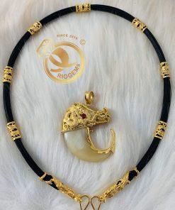 Bộ vòng cổ lông voi 7 đốt Rồng đúc hợp mệnh thổ