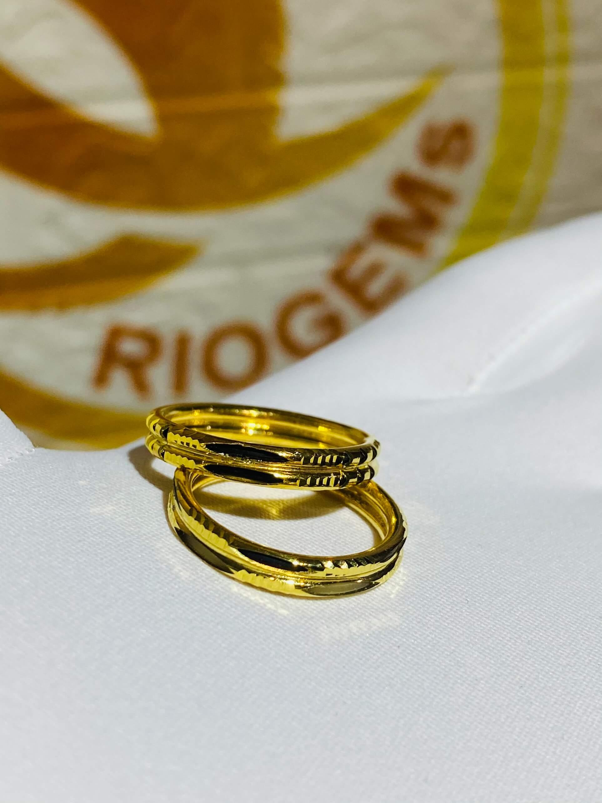 Cặp nhẫn Lông Voi kép hợp mệnh kim