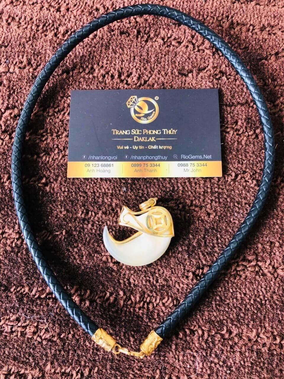 Dây da đan bọc vàng 2 đầu phong thủy