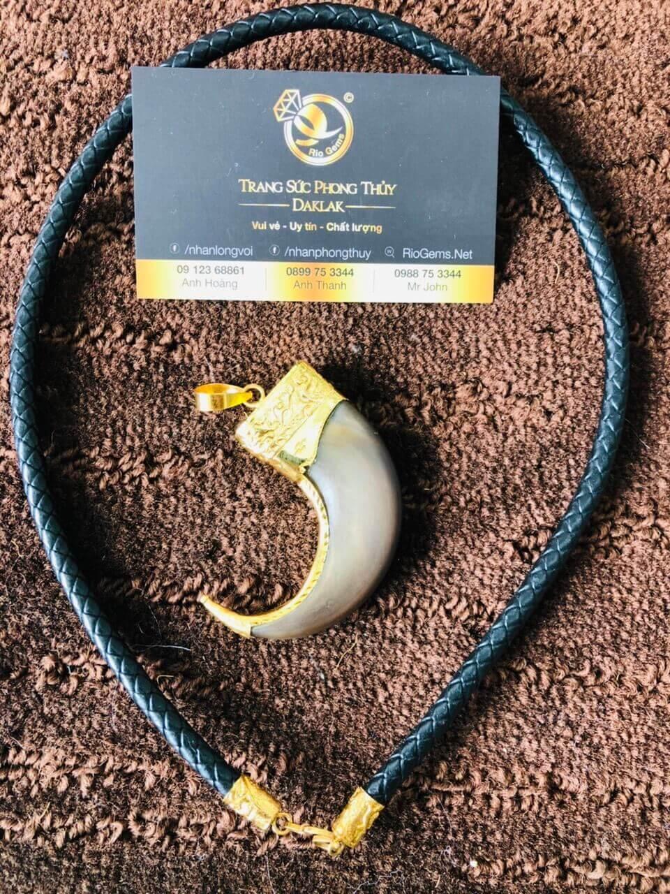 Dây da đan bọc vàng 2 đầu phong thủy cực chất