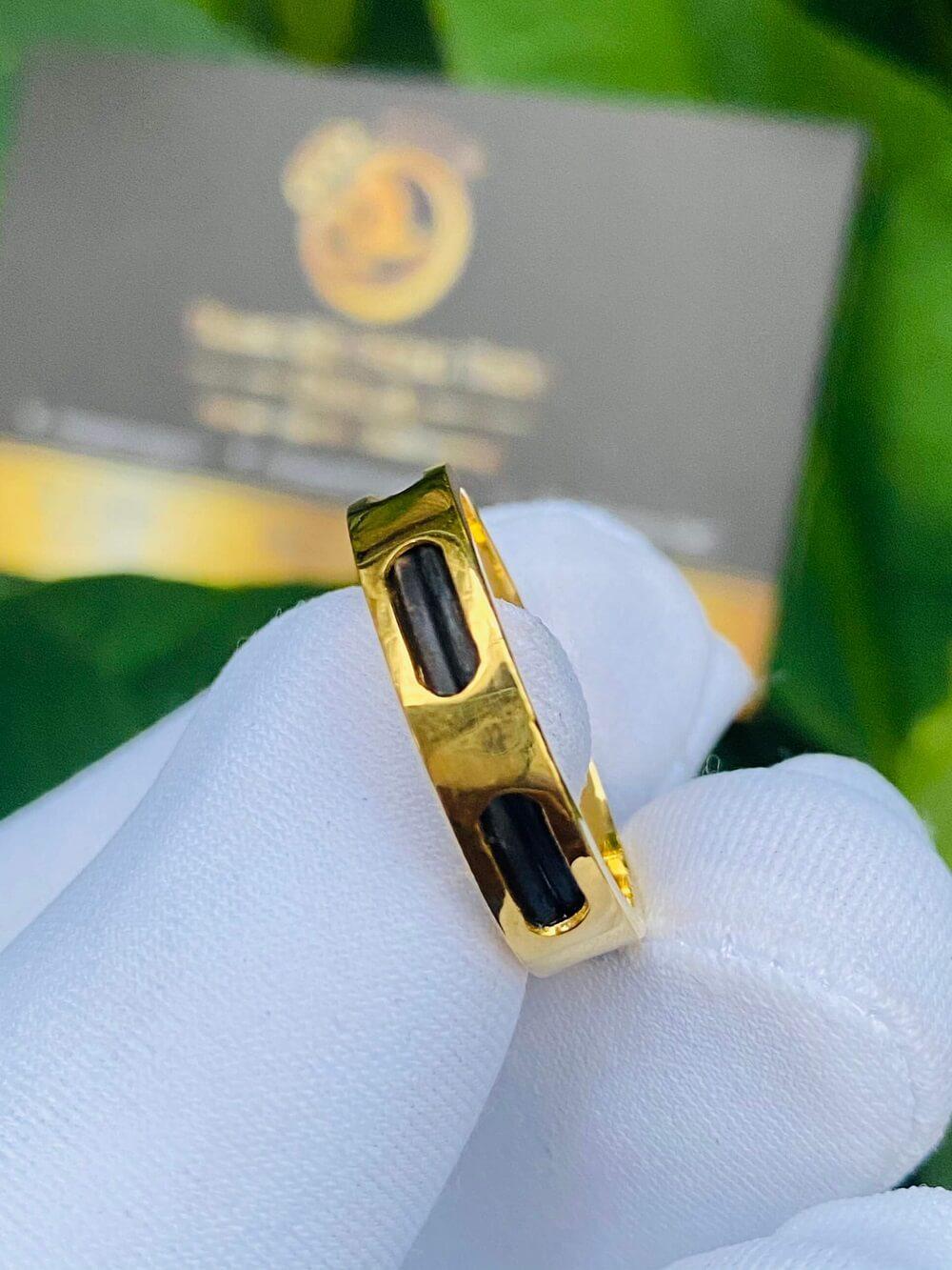 Nhẫn Vuông luồng 2 sợi lông 6 rãnh vàng 18K – Bảng 5li (lông FAKE) chất lượng