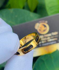 Nhẫn Lông voi nam Vuông luồng 2 sợi lông 6 rãnh vàng hợp mệnh thủy