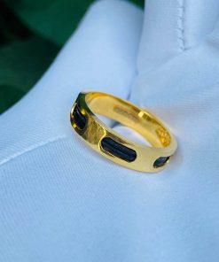 Nhẫn Lông voi nam Vuông luồng 2 sợi lông 6 rãnh vàng hợp mệnh kim