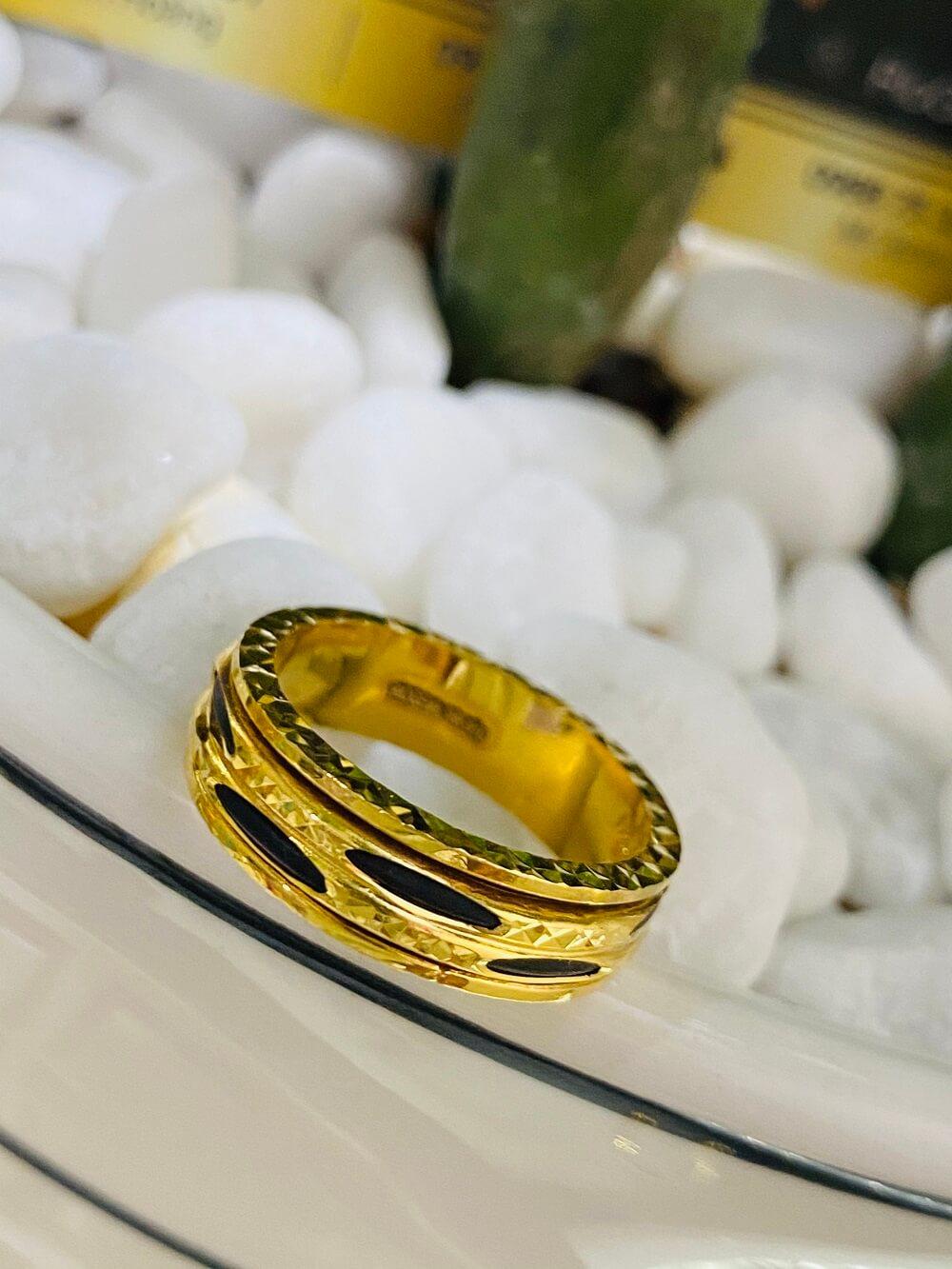 Nhẫn xoay vàng 18K luồng 2 sợi Lông (lông FAKE) loại tốt